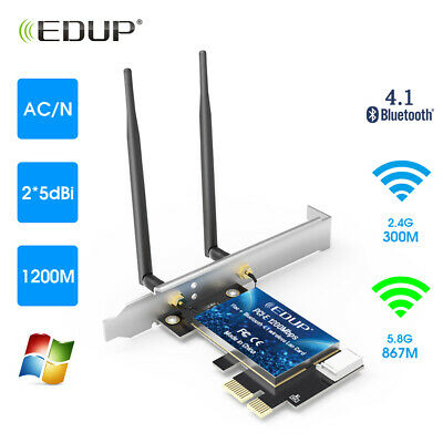 2 Antenna PCI-E 1200Mbps 802.11ac Wireless Bluetooth WiFi Card Adapter for PC