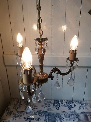 Vintage French Ornate Bronze & Crystal 3 Arm Chandelier Light (541)
