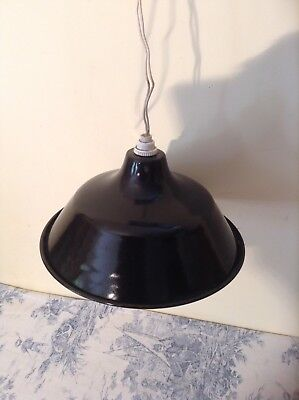 Vintage French Black Enamel Industrial Shade Light (2411)