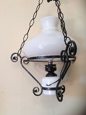 Vintage French Ceiling Light - Opaque White Glass Lamp Shade (1073)