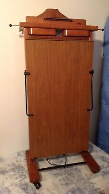 Vintage Italian Wooden Butlers Valet Stand on Wheels with Trouser Press (3250)