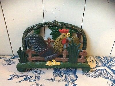 Vintage Style French Country Cast Iron Hand Painted Cockerel Letter Rack (1069)