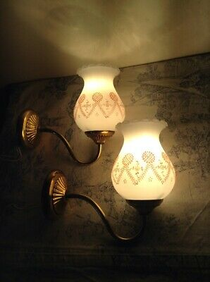 Pair Vintage French Metal Wall Lights / Sconces, Glass Shades - Retro (2375)