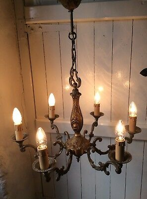 Vintage French 6 Arm Ornate Bronze Rococo Chandelier (934)