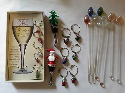 Wine and Cocktail Accessories 21 pc. lot Entertainment Food and Drink Christmas