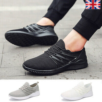 Mens Breathable Sport Running Shoes Mesh Trainers Lightweight Solid Athletic Gym