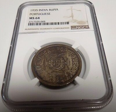 INDIA PORTUGESE 1935 RUPIA NGC MS64 MS 64 Certified Portugal Indian UNC Coin