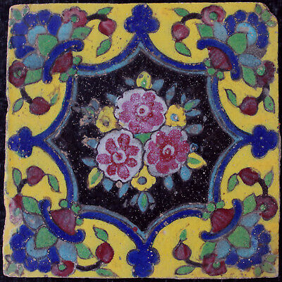 19 th C. Antique Qajar tile, Persia with Flower decoration
