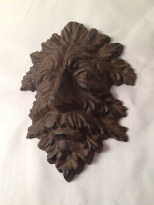"Green Man Leafy Tree Man Solid Cast Iron 10"" Wall Plaque Sculpture 0170-05631"