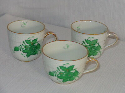 Herend Hungary Porcelain Green Chinese Bouquet 3 Demi / Mocha Cups