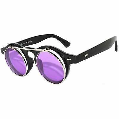 d8ba7f55acb5e Steampunk Retro Gothic Vintage Colored Metal Round Circle Frame Sunglasses  Color