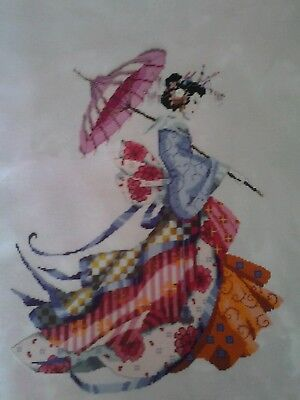 """Mirabilia """"Miss Cherry Blossom"""" Completed Unframed Cross Stitch"""