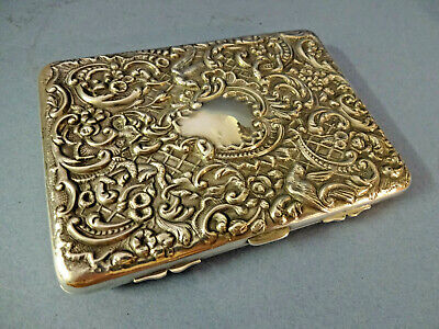 "LATE 19thC ""W.COMYNS"" STERLING SILVER CARD CASE,LEATHER INTERIOR H/M LONDON 1895"