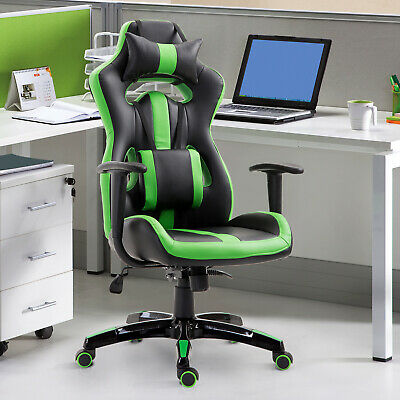 High Back Racing Office Chair Gaming Bucket Seat Swivel Recliner Green