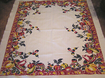 Vtg Tablecloth Heavy Cotton Southwest Pattern Gourds Pottery Red and Yellow WOW!