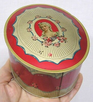 Vintage DuBarry Talcum Powder Oval Dusting Tin Neat Graphics