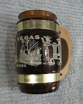 Vintage Las Vegas Nevada Siesta Ware Brown Glass Mug w Wood Handle FREE S/H