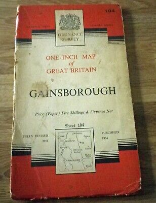 Vintage National Grid Ordnance Survey Map 104 GAINSBOROUGH 1954