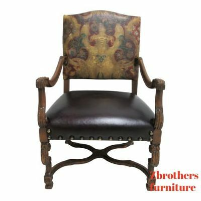 Old Hickory Tannery Leather Living Room Arm Lounge Chair Louis XV French