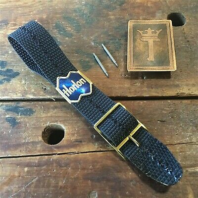 18mm Nylon 1960s/1970s NOS Vintage Watch Band Military NOS Strap & Brass Buckle