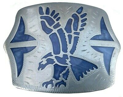 Vtg Rare Johnson Held Belt Buckle Blue Enamel Inlay Southwestern Artist Bird