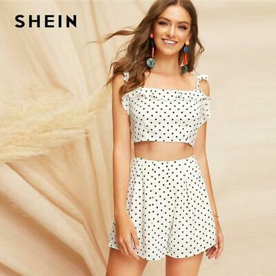 9424599312 SHEIN Boho White Knot Back Polka Dot Top And Shorts Set Women Two Pieces  Sets 20