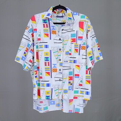 31a875187 Vintage 90s Nautical Shirt Unisex M/F Sailing Yachting Flags Bright Colors  Large
