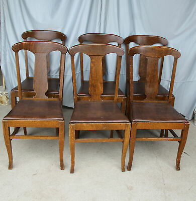 Antique Set of Six Matching Oak T back Style chairs – original finish