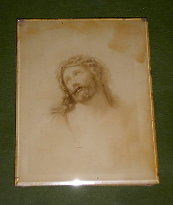 1899's THE SUFFER OF JESUS EXQUISITE SELF STANDING PICTURE w/BEVELED GLASS