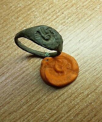 WONDERFUL ANCIENT ROMAN BRONZE SEAL RING bird Size 20mm / US-10 #2804