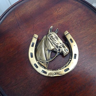 Vintage Reclaimed Large Cast Brass Door Knocker Horse Head With Shoe