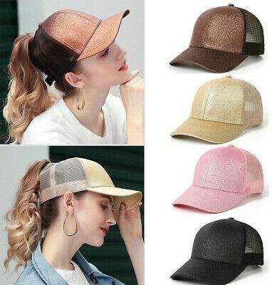 6200d7a8 2019 GLITTER PONYTAIL Baseball Cap Women Snap Back Mesh Summer Hat ...