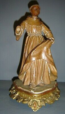 Antique Italian Wood Carved Sculpture Santos Of Saint St. Anthony On Gilt Stand.