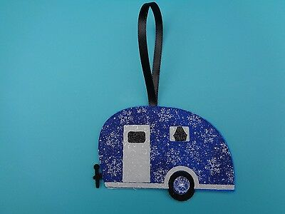 NEW Handcrafted Vintage Retro Camper Trailer Ornament Blue/Silver Snowflakes