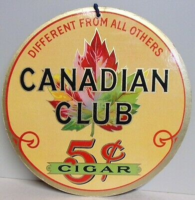 1930's Canadian Club 5 Cent Cigar Fan Pull Sign