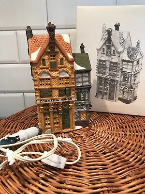"""Dept 56 Dickens' Village 1988 """"COUNTING HOUSE & SILAS"""" Retired"""