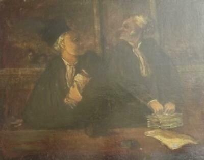 After HONORE DAUMIER 1808- 1879 Charming Antique Oil Painting THE LAWYERS