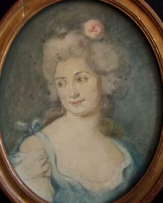 FRAGONARD School Antique French Rococo OLD MASTER Portrait Drawing SOCIETY LADY