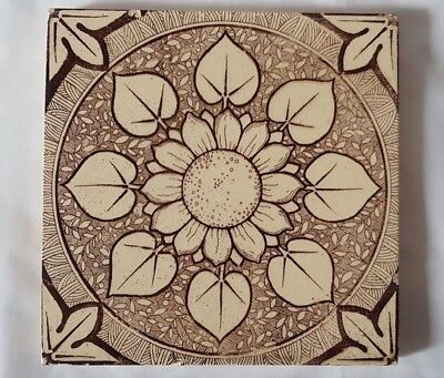 CHARMING aesthetic SYMMETRICAL SUNFLOWER DESIGN ANTIQUE SIX INCH TILE