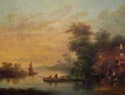 Antique 19th Century DUTCH Romantic Golden River Sunset Landscape Oil Painting