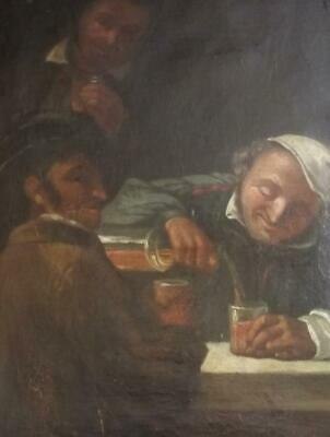 Antique 18th Century Flemish SCHOOL OLD MASTER Oil Painting THE DRINKERS