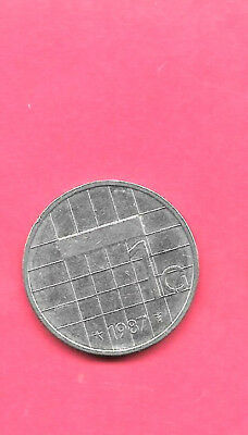Netherlands Dutch Km205 1987 Xf-Super Fine-Nice Large Gulden Pre-Euro Coin