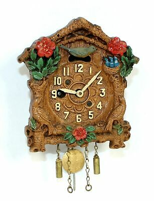 VINTAGE KEEBLER NOVELTY CUCKOO CLOCK with SLIDING BIRD FEEDING NEST- TB75