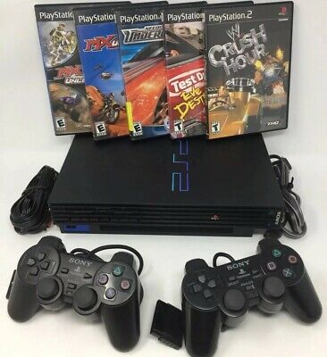 Sony Playstation 2 PS2 Fat Console Bundle Lot W/ Dualshock Controllers & Games
