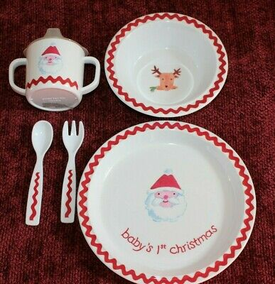 Pottery Barn Kids Baby's First Christmas Melamine Sippy Cup Bowl Plate Set NEW