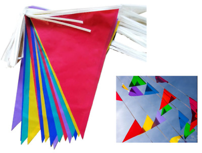 New Multi-Coloured Paper Pennant Flag Banner Bunting Party Decoration 15ft Set