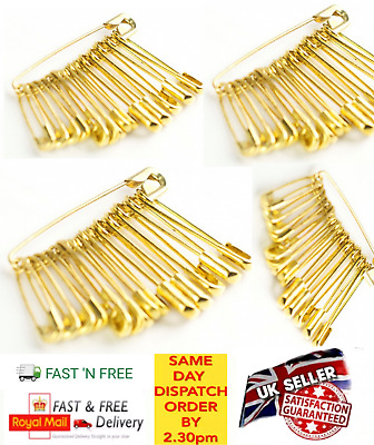 Safety Pins 100 Pcs Needles Gold Assorted Small Medium Large Sewing Craft aid