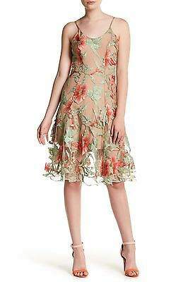 DRESS the POPULATION Nude Coral Green Floral Lace Anne Fit & Flare Skirt M 8/10