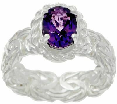 Silver Style Sterling Silver 1.00 Ct Amethyst Byzantine Band Ring Size 9 Qvc