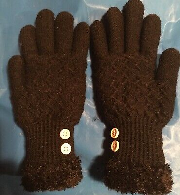 Sonoma Womens Black Knit Gloves With Buttons - One Size- Please See The Pictures